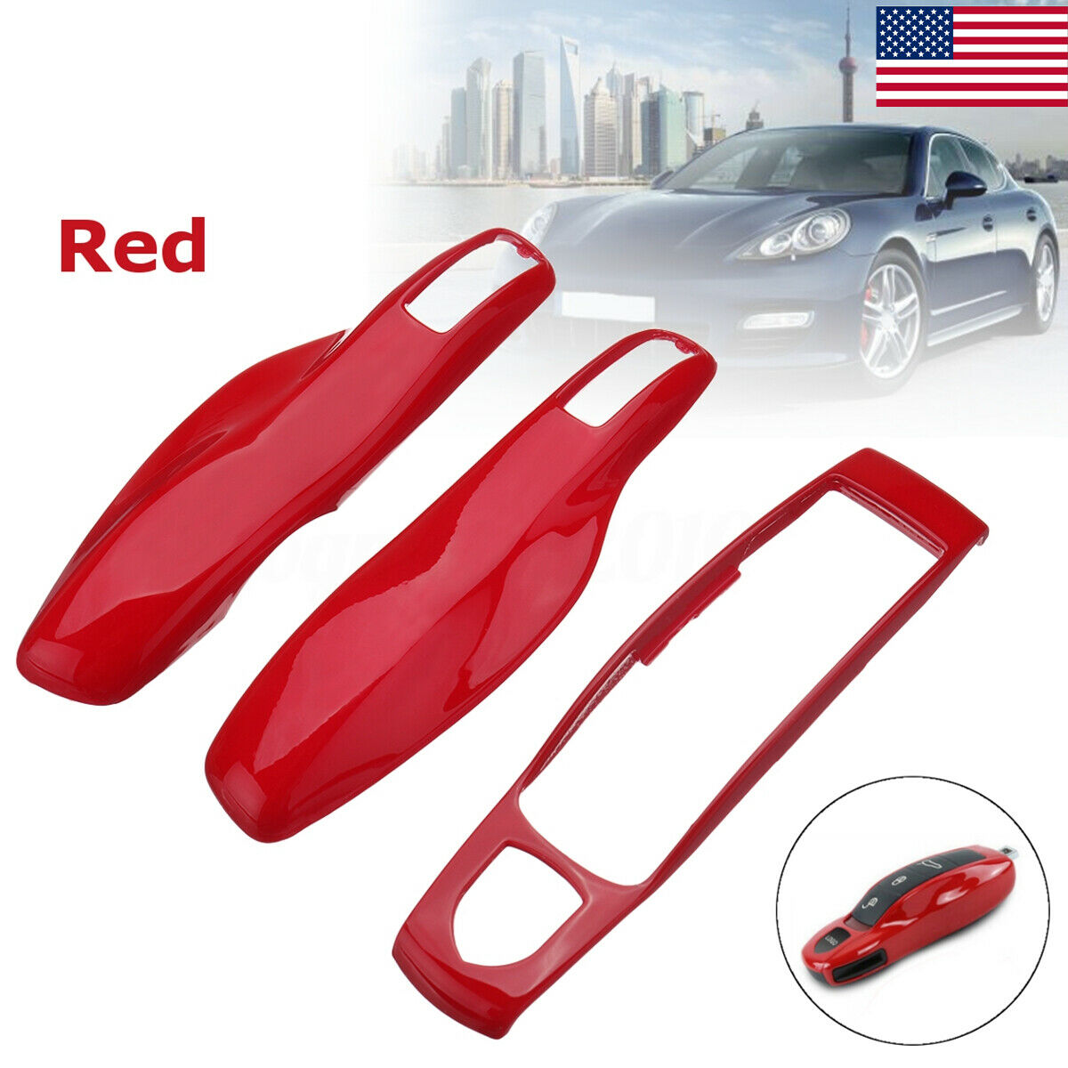 Remote Start Keyless Key Case Cover Shell for Porsche Cayenne Panamera Caman 911 981 Red