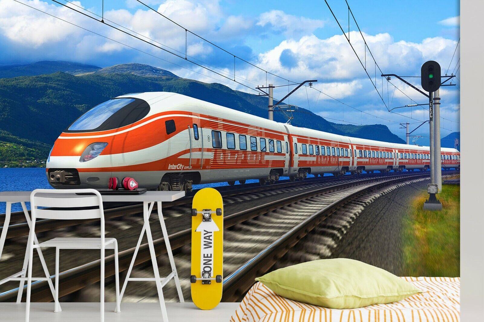 3D rot High Speed Rail R05 Transport WandPapier Mural Sefl-adhesive Removable Zoe