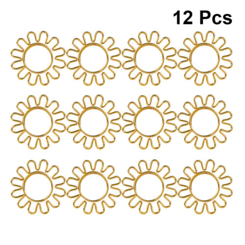 8pcs Paper Clips Golden Sunflower Shape Bookmark Pin Clip Set for Home Office Sc