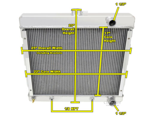 1970-1973 Plymouth Duster Aluminum 3 Row Radiator 3.2//3.7 L6 fit V8 Conv OK