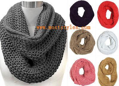 New Women Knitted Crochet infinity Scarf Winter Warm Solid Loop Wrap Daily Wear