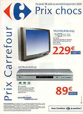Publicité 2003 Carrefour Multimédia Téléviseur Bluesky Lecteur Dvd Lg Ebay