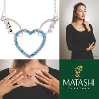 16 Rhodium Plated Necklace W/ Winged Heart Design & Blue Crystals By Matashi on sale
