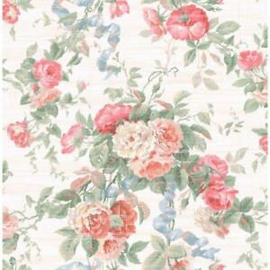Wallpaper-Designer-Coral-Pink-Red-Green-Rose-Floral-with-Blue-Ribbon-on-Cream
