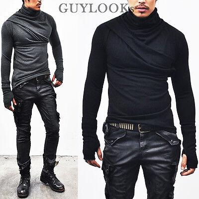 Avant-garde Bandage Look Mens Shirring Armwarmer Turtle Wool Knit Tee By Guylook