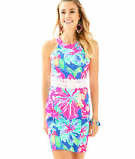 87722b3e52df31 Lilly Pulitzer Ashlyn Shift Dress Beckon Blue Pink Multi White Lace 16