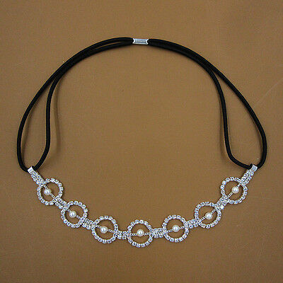Crystal Pearl Rhinestone Chain Wedding Headband Elastic Stretch Hair Band FD-2