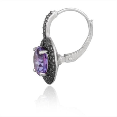 Argent 925 Améthyste /& Diamant Noir Accent Rond Leverback Boucles D/'oreilles