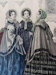 MODE-IM-BIEDERMEIER-3-Damen-alt-kolorierte-Lithographie-von-1853
