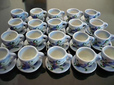 20 Coffee Cup+20 Saucer Hand Painted Orchid Purple Dollhouse Miniatures Ceramic