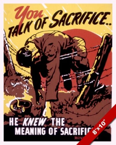 SACRIFICE US SOLDIER WINCHESTER WWII PROPAGANDA POSTER REAL CANVASART PRINT
