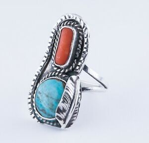 Size 4 Vintage Navajo Turquoise and Red Coral Sterling Silver Feather Ring