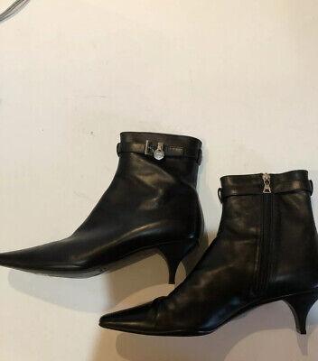 PRADA Black Leather Pointed Toe Ankle
