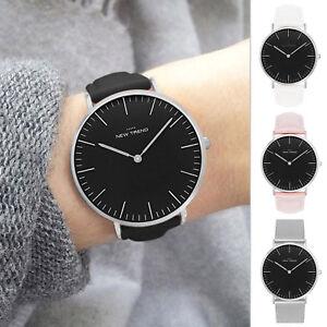 Armbanduhr Damen Schwarz Leder Herren Unisex Uhr Damenuhr Silber Herrenuhr Quarz