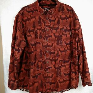 Vintage-Woolrich-Mens-Chamois-Flannel-Shirt-XL-Rare-Copper-Shadow-Whitetail-Deer