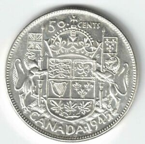 CANADA-1945-BLUNT-5-50-CENTS-HALF-DOLLAR-GEORGE-VI-CANADIAN-800-SILVER-COIN