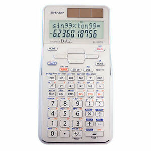 Sharp 2 Line Scientific Calculator White with 273 Functions Dual Power 3D Cover