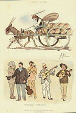 Rome.Globe-trotter.Music.Italy.1895.Graphic.Antique print.Horse.Cart.Animal.Art