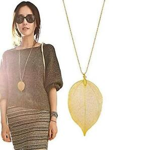 Real-Long-Leaf-Leaves-Pendant-Sweater-Chain-Necklace-Women-Fashion-Jewelry