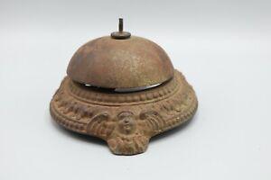 Antique-Victorian-Old-Counter-Desk-Bell-Cherub-Angel-Cast-Iron-Engraved-Swirls