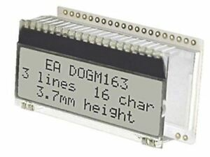 Electronic Assembly EA DOGM163W-A Alphanumeric LCD Display, White on Black, 3 Ro