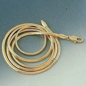 Men-039-s-Women-039-s-Necklace-Snake-Chain-18k-Yellow-Gold-Filled-24-034-Link-Charms
