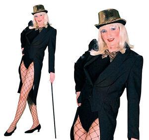 Ladies Black Tailcoat Facy Dress Costume Jacket Circus Ringmaster UK 10-14