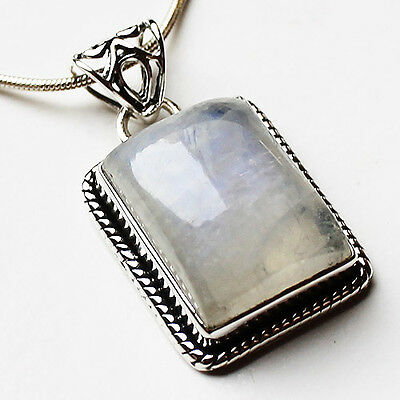 925 Sterling Silver Semi-Precious Rectangle Natural Moonstone Pendant