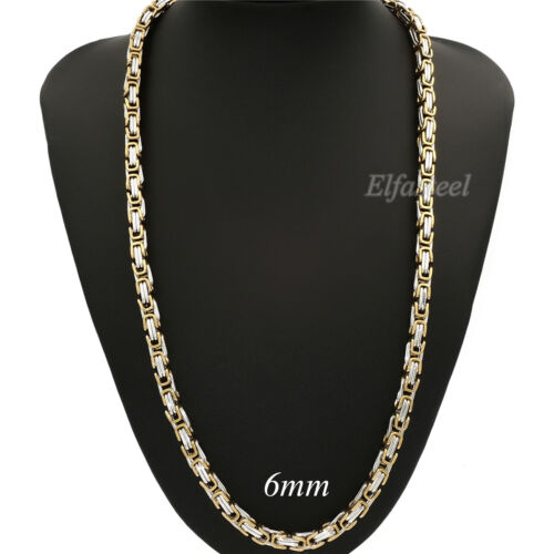 MEN/'S 5//6//8MM Silver Gold Tone Stainless Steel Byzantine Box Link Chain Necklace