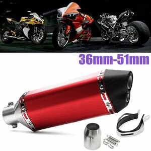 36-51mm-Red-Motorcycle-Exhaust-Muffler-Pipe-Double-Air-Outlet-Scooter-ATV-Quad