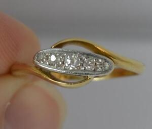 Five-Old-Cut-Diamond-18ct-Gold-amp-Platinum-Ring-t0115