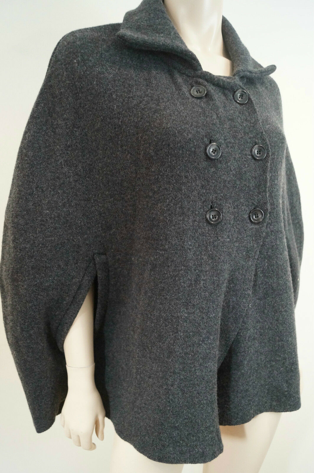 MARY MADE IN ITALY grau wolleBlend Double Breasted Poncho jacke Top UK14 BNWT