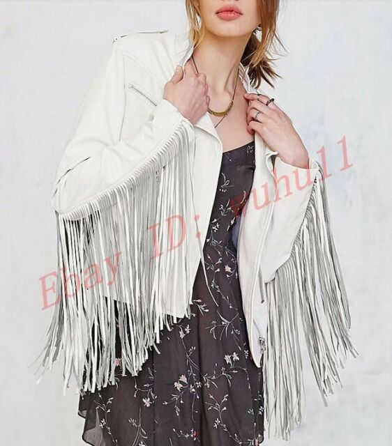 Chic Women Cool Short Motorcycle Zip Punk Fringe Jacket Coats Tassel Slim Jacket