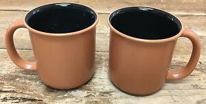 2 Tasses Café Crown Corning Prego Japon Noir Intérieur Terra Cotta Cuite Out D3jkwft7-08001242-860459839
