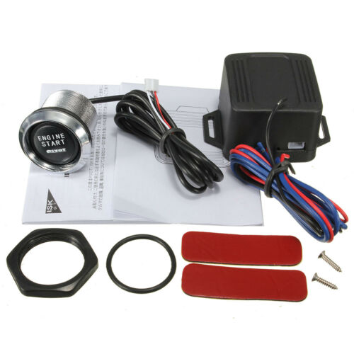 Car Engine Push Start Button Switch Ignition Starter Kit Blue LED ON-OFF