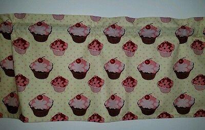 BAKERY CUPCAKE DESSERT CHERRY FLORAL FLOWER PINK POLKA DOT  LINED VALANCE 42x12