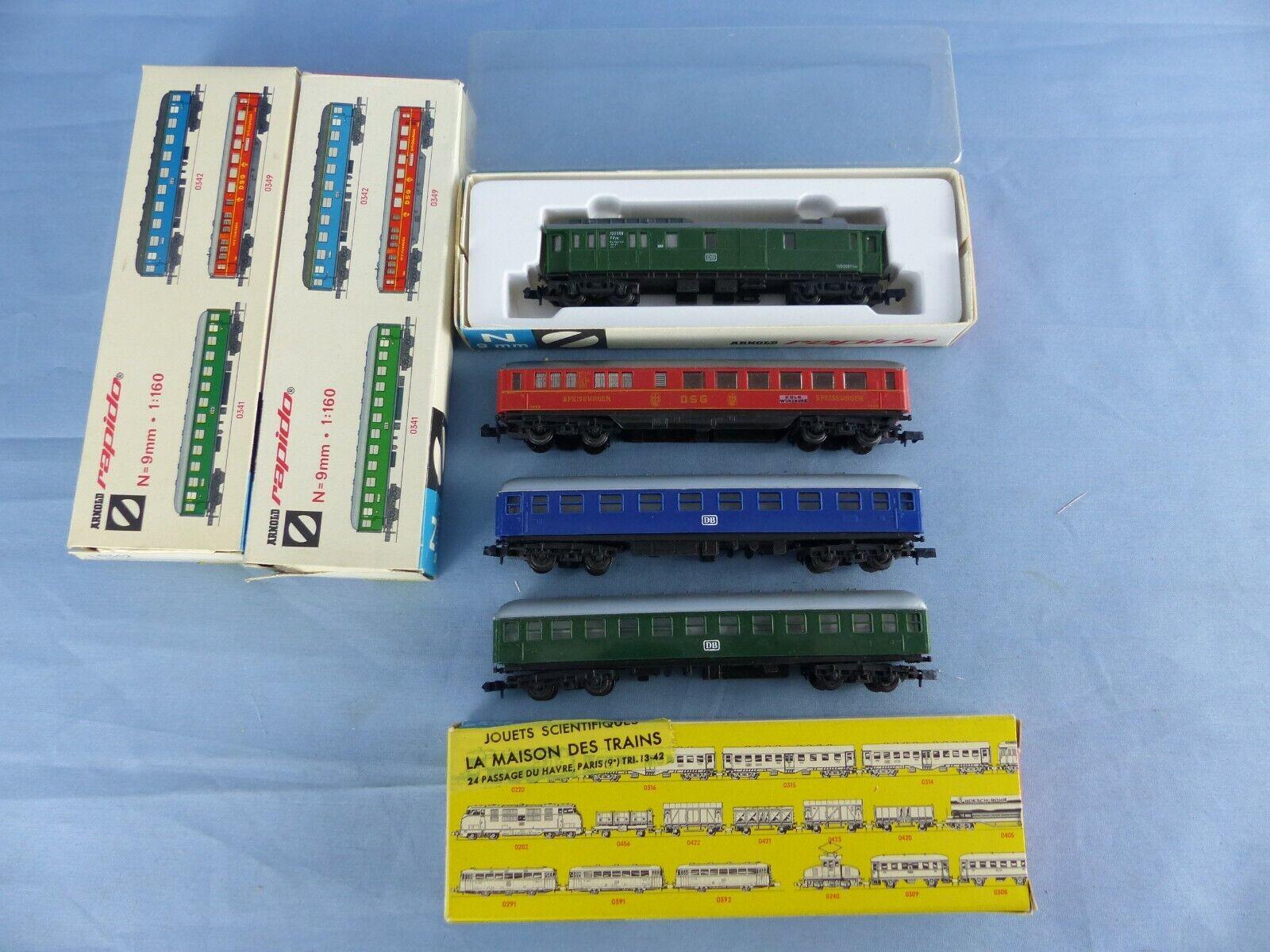 ARNOLD RAPIDO lot de 4 wagons wagons wagons voyageurs + boite , réf   0330 0341 0342 et 0349 1 4da37d