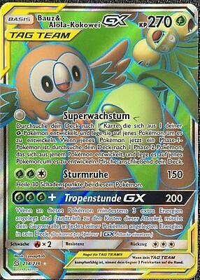 HoloNM DE Pokemon Karte Bauz /& Alola Kokowei GX 214//236 Full Art