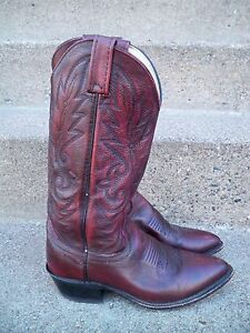 Vintage-Dan-Post-Maroon-Leather-Cowboy-Men-039-s-Western-Rancher-Riding-Boots-Size-7