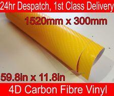4D Fibra Di Carbonio Vinile Avvolgere Pellicola Giallo 300mm (11.8 in) x 1520mm (59.8 in)