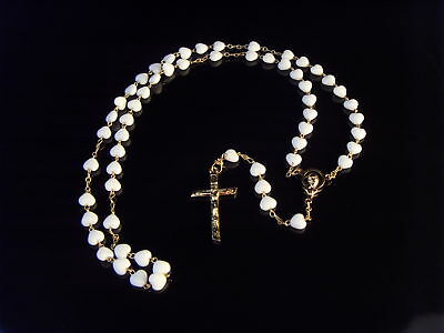 White glass heart rosary beads necklace gold tone chain