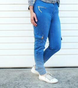 incredible prices finest selection latest discount Details about NEW LADIES GELATO CARGO JOGGERS JEANS-BLUE DENIM SIZE  6,7,8,9,10,11,12,14