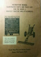 Gravely L Li Ls 2-wheel Garden Tractor Owner Operating & Parts Manual 44pg 1950