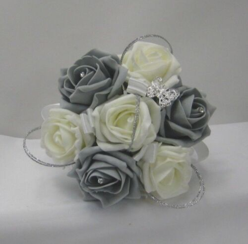 Wand Bridesmaid Ivory Grey Roses Groom,Diamante Wedding Brides Bouquet