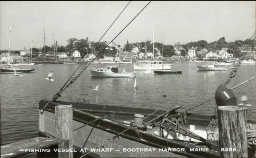 Boothbay Harbor ME Fishing Vessel at Wharf 1950s-60s Real Photo Postcard