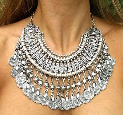 """plastron necklace Collier /""""Chic Ethnique Turquoise/"""" Oriental pièce argentée"""