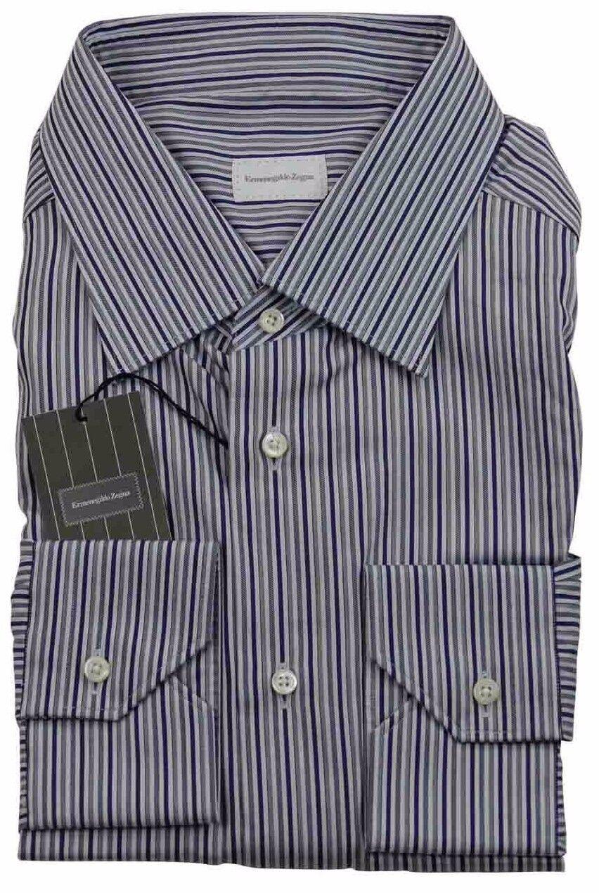 Ermenegildo Zegna Blu Grigio a Righe Camicia Made in