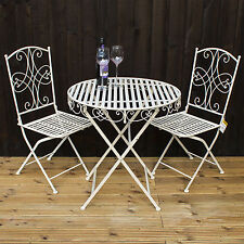 Metal Folding Bistro Set Blue Garden Round Table Chairs Camping - Metal folding patio table and chairs