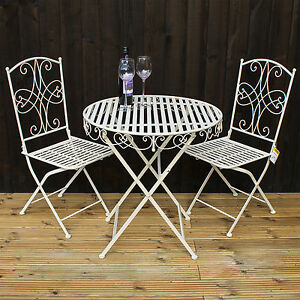 3pc Folding Bistro Set Round Metal Table Amp 2 Chairs