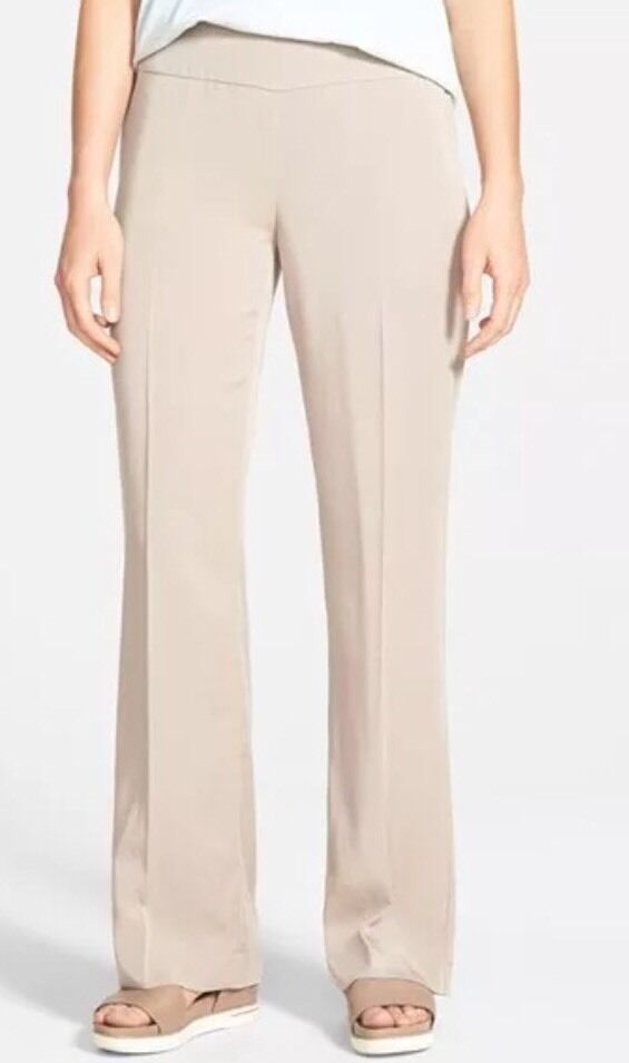 Large Eileen Fisher Limestone Lightweight Tencel Twill Straight Trousers Pants